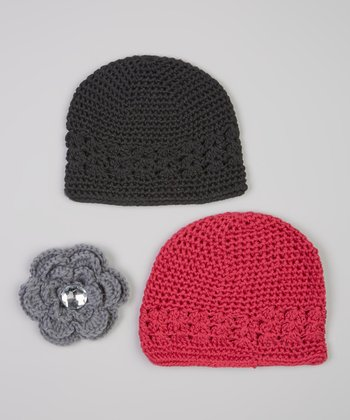 Hot Pink & Black Beanie & Rhinestone Crocheted Flower Clip Set
