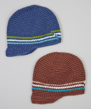 Brown & Blue Stripe Brimmed Beanie Set