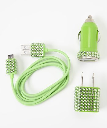 Green Rhinestone Micro USB Cable Charger Set