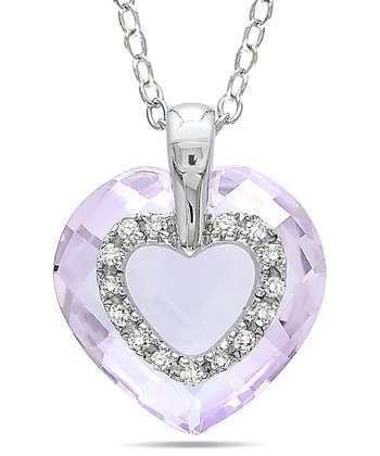 Diamond & Sterling Silver Rose de France Pendant Necklace