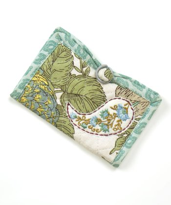 Beige & Mint Floribunda Business Card Case