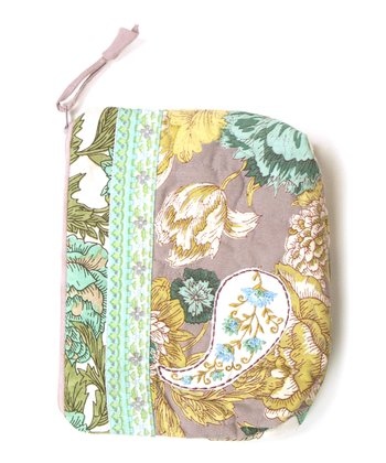 Beige & Mint Floribunda Cosmetic Bag