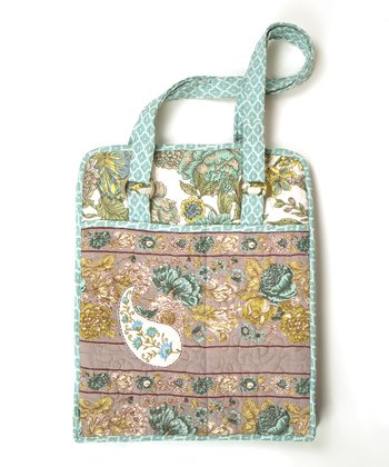 Beige & Mint Floribunda Laptop Bag