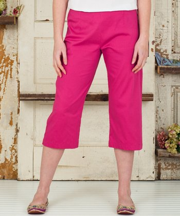 Dark Pink Pansy Cropped Pants
