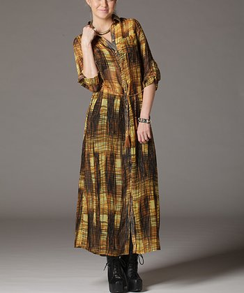 Yellow Plaid Maxi Dress