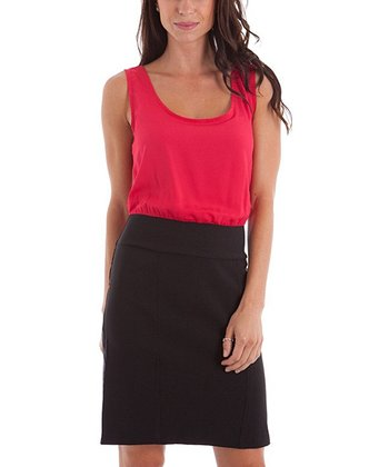 Red & Black Color Block Dress