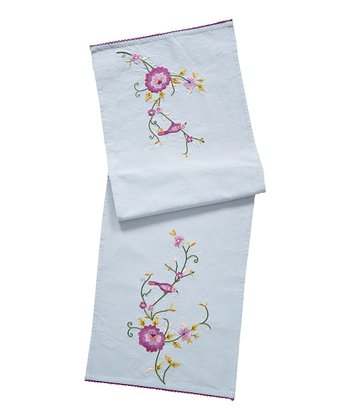 Blooming Bird Embroidered Table Scarf