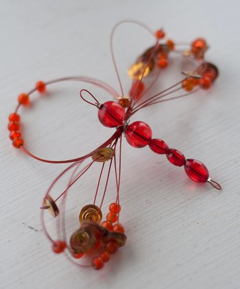Orange Dragonfly Napkin Ring - Set of Four