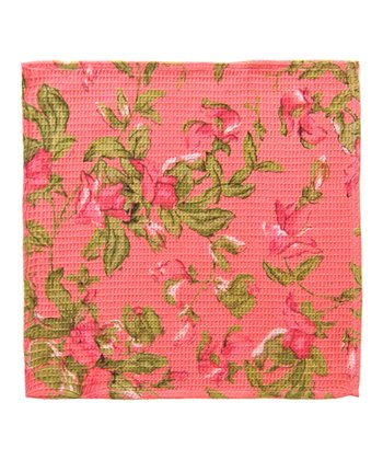 Coral Sweet Pea Little Dish Towel - Set of Two