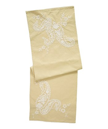 Celadon Paisley Embroidered Table Scarf