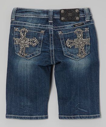 Medium Wash Cross Bermuda Shorts