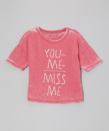 Red 'You Minus Me Equals Miss Me' Tee -Girls