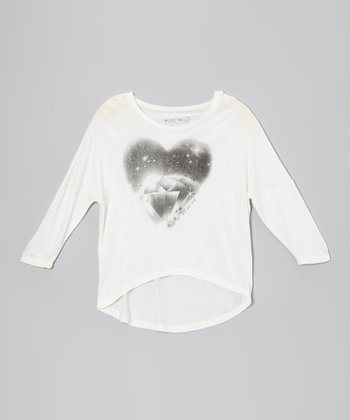 Off-White Diamond Hi-Low Dolman Top