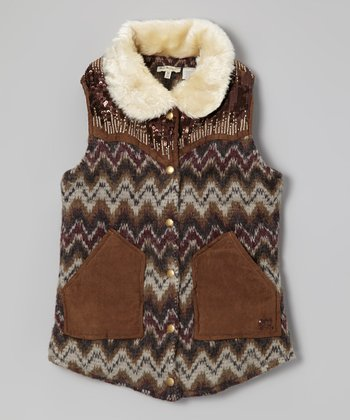 Camel Faux Fur Collar Vest