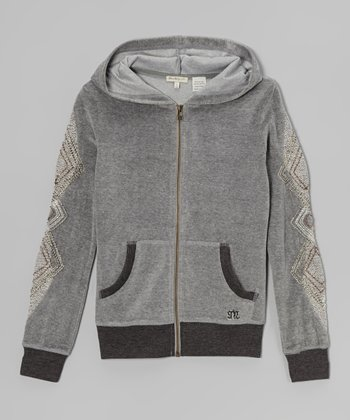 Light Gray Variegated Zip-Up Hoodie