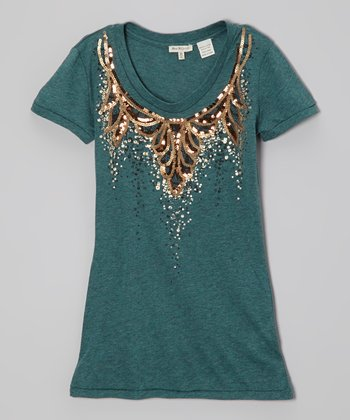 Teal Sequin Scoop Neck Tee