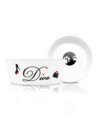 White 'Diva' Pet Food Bowl