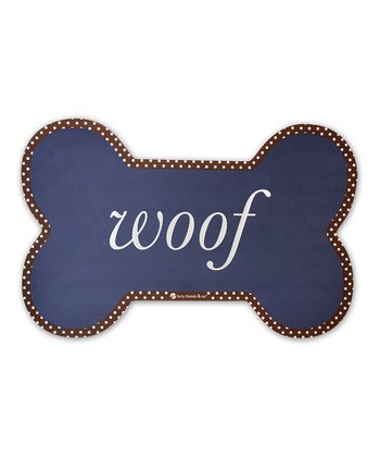 Blue 'Woof' Dog Bowl Mat