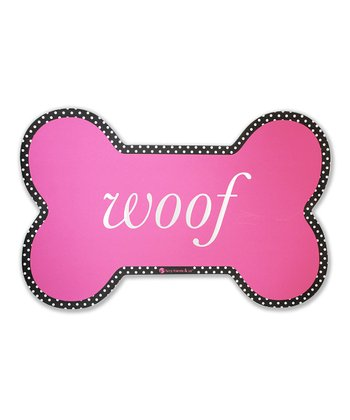Pink 'Woof' Dog Bowl Mat