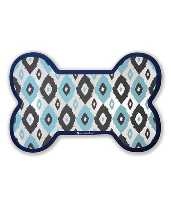 Blue Ikat Dog Bowl Mat
