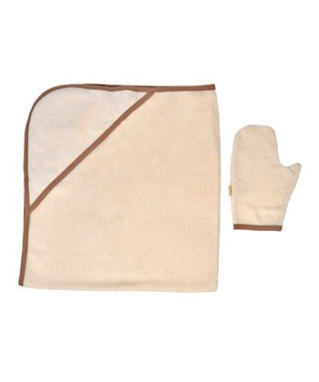 Brown Organic Hooded Towel & Mitt