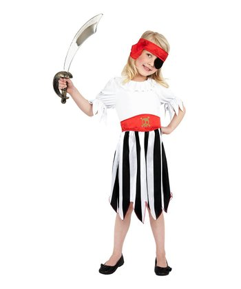 Black & White Pirate Girl Dress-Up Outfit - Kids