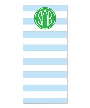 Wide Stripe Monogram List Pad - Set of Two