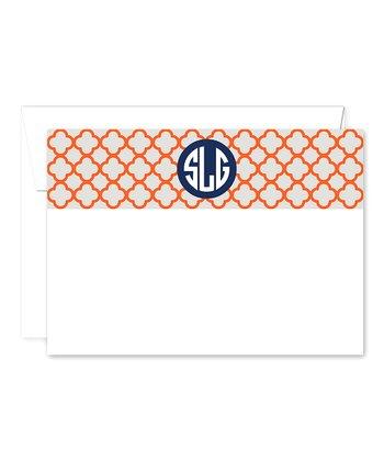 Trellis Monogram Card & Envelope Set