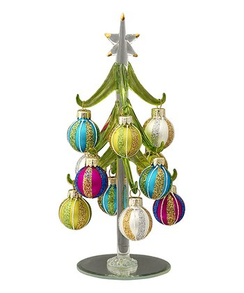 Green Stripe Ornaments Miniature Glass Tree Set