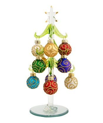 Swirly Ornament Miniature Glass Tree Set