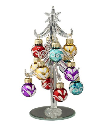 Silver Cheery Ornament Miniature Glass Tree Set