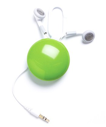 Green Retractable Earbuds