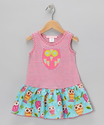Pink Stripe Owl Drop-Waist Dress - Toddler & Girls