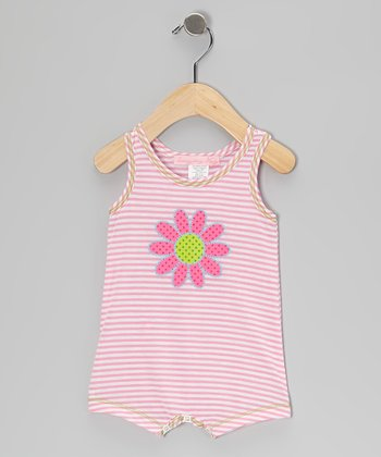Pink Stripe Daisy Romper - Infant