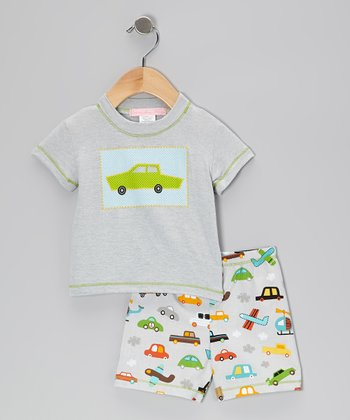 Gray Car Tee & Shorts - Infant