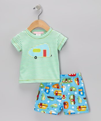 Turquoise Stripe RV Tee & Blue Shorts - Infant