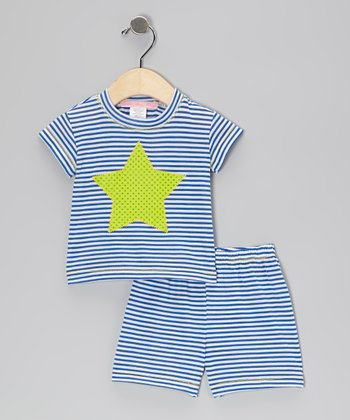 Blue Stripe Star Tee & Shorts - Infant