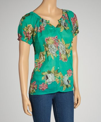 Turquoise & Pink Rose Short-Sleeve Button-Up Top