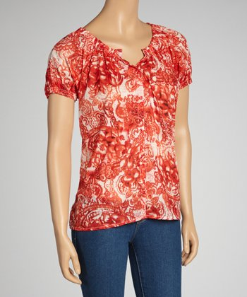 Red & White Abstract Short-Sleeve Button-Up Top