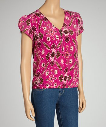 Pink & White Zipper-Front Silk Short-Sleeve Top