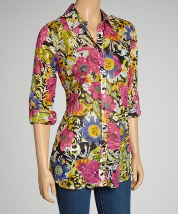 Black & Fuchsia Peony Pocket Button-Up