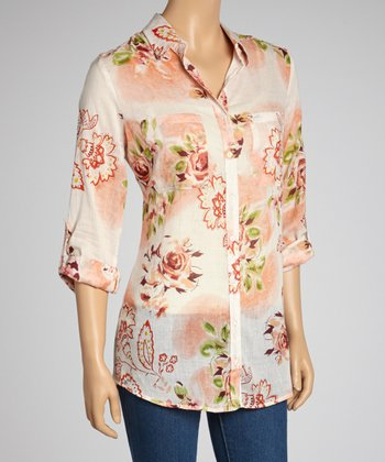 Peach & Taupe Western Pocket Button-Up