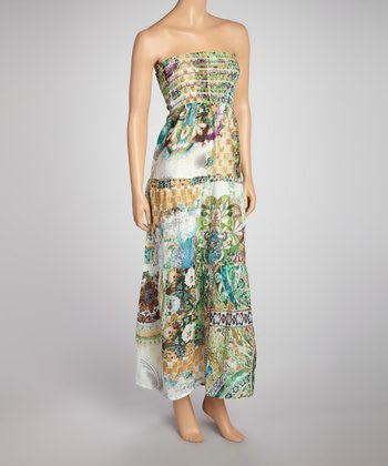 White & Green Patchwork Strapless Maxi Dress