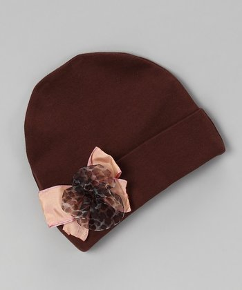Brown Bow Beanie - Infant