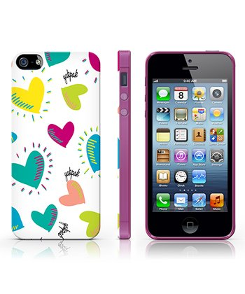 White & Aqua Hearts Case for iPhone 5