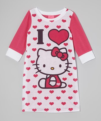 Pink & White Hello Kitty Hearts Nightgown - Girls