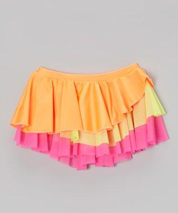 Mondor Neon Orange Tiered Ruffle Skirt - Toddler & Girls