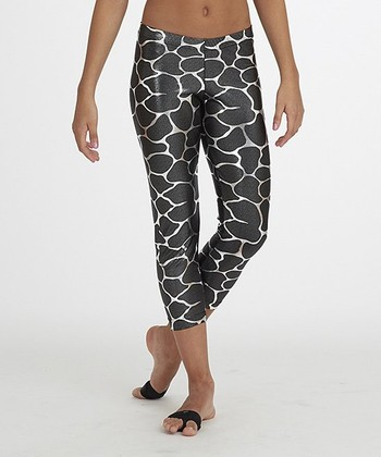Gray & Silver Capri Leggings - Girls