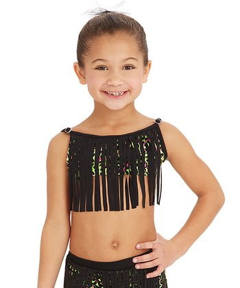 Neon & Black Fringe Bandeau Top - Girls