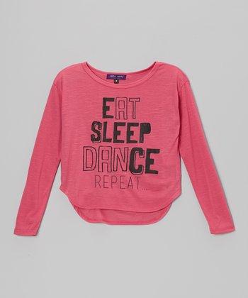 Pink 'Eat, Sleep, Dance, Repeat' Hi-Low Tee - Girls